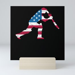 American Cricketer Cricket Player Fourth Of July Mini Art Print