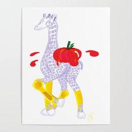 Thanksgiving Food Fight Tomatoe - Midas is Ready - Christmas Lavender Giraffe Poster