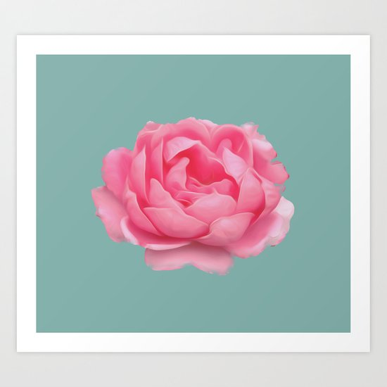 Rose on mint Art Print