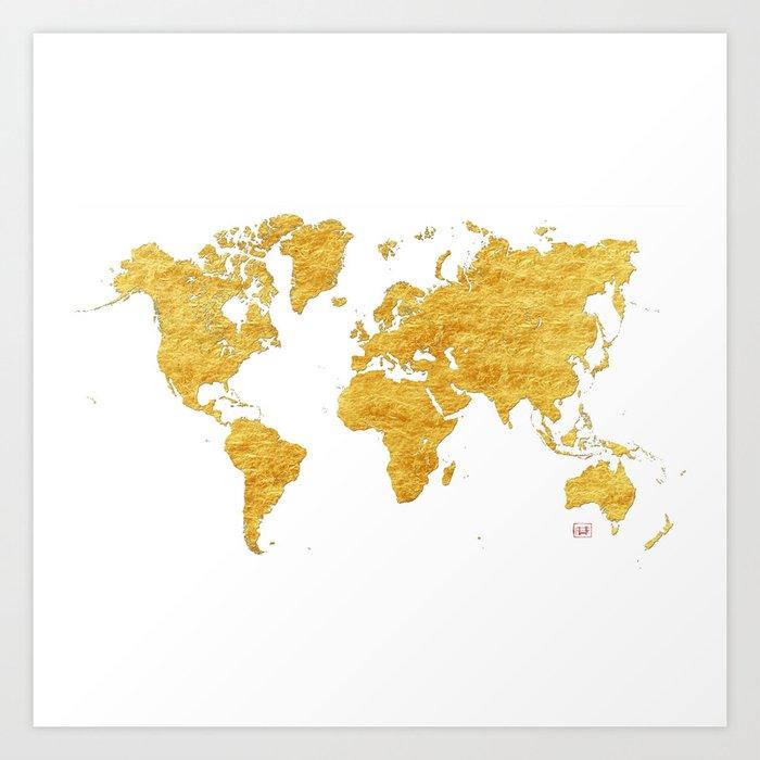 World Map Gold Vintage Kunstdrucke