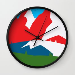 Colourful Mountains Wall Clock