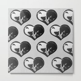 Cat Lovers Heart Metal Print