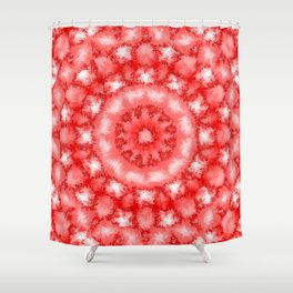 Kaleidoscope Fuzzy Red and White Circular Pattern Shower Curtain