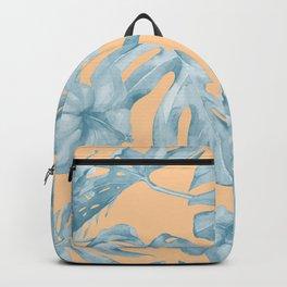 Island Sunrise Hibiscus Palm Orange Ocean Blue Backpack