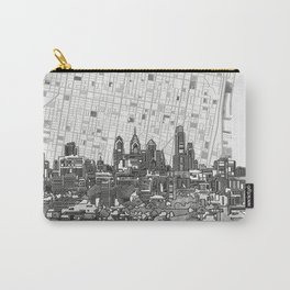 philadelphia city skyline black and white Carry-All Pouch