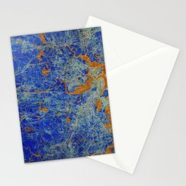 Boston Massachusetts 1893 colorful vintage old map. Orange and blue artwork Stationery Cards