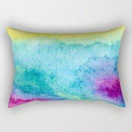 Modern neon yellow blue hand painted watercolor Rectangular Pillow