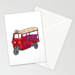 Red tuktuk / autorickshaw Stationery Cards