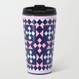 Patchwork Quilt - Pink Blue Navy Travel Mug