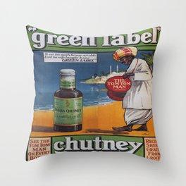Vintage poster - Green Label Indian Mango Chutney Throw Pillow