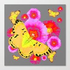 YELLOW BUTTERFLIES PINK MODERN FLOWERS Canvas Print