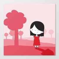 polkadot Canvas Prints featuring Polkadot Dress by ankepankedesign