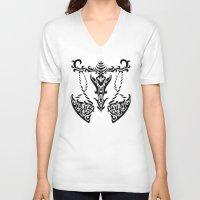 libra V-neck T-shirts featuring Libra by Mario Sayavedra