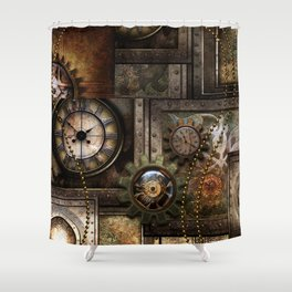 Steampunk, wonderful clockwork with gears Shower Curtain