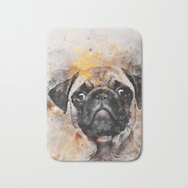Pug Puppy Using Watercolor On Raw Canvas Bath Mat
