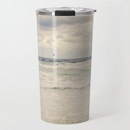 Seagulls take flight over the sea. Travel Mug