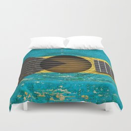 Old Vintage Acoustic Guitar with Bahamas Flag Duvet Cover