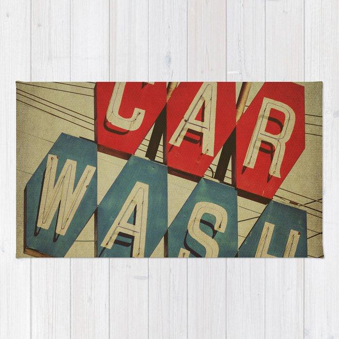 Retro Car Wash Sign Rug