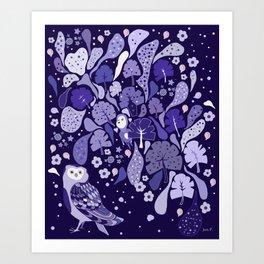 Floating violet Flora Art Print