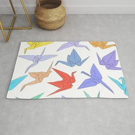 Japanese Origami paper cranes symbol of happiness, luck and longevity Rug