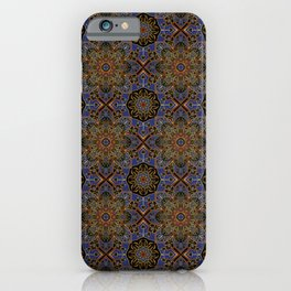 Royal Gold highlights in Princess blue and Jester Red ornamental flower motif iPhone Case