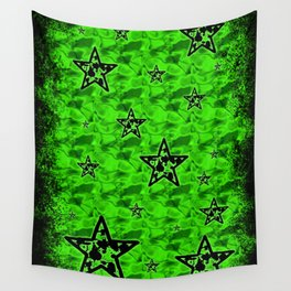 Green Toxic Stars Wall Tapestry