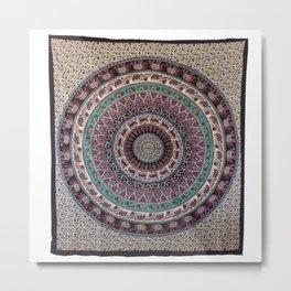 Elephant Circle Indian Tapestry Metal Print