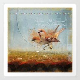 Kathmandu Cinnamon Sparrows Art Print