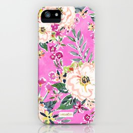 PRETTY MARCY Hot Pink Floral iPhone Case