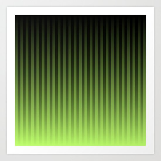 Green/Black Faded Stripes Art Print