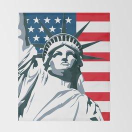 Pop Art Statue Of Liberty Throw Blanket