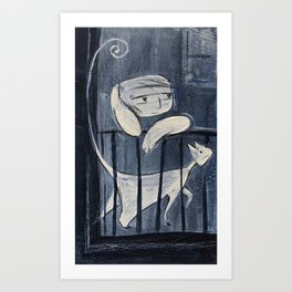 The boy and his cat Art Print