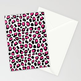 Leopard Animal Print Hot Pink Black Spots Stationery Cards
