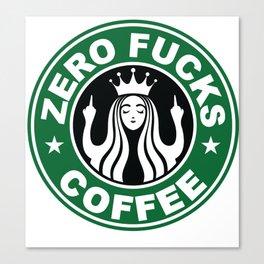 Starbucks Logo Parody - Zero F*cks - Middle Finger - Flipping Off - Funny - Humor - Cafe - Coffee Canvas Print