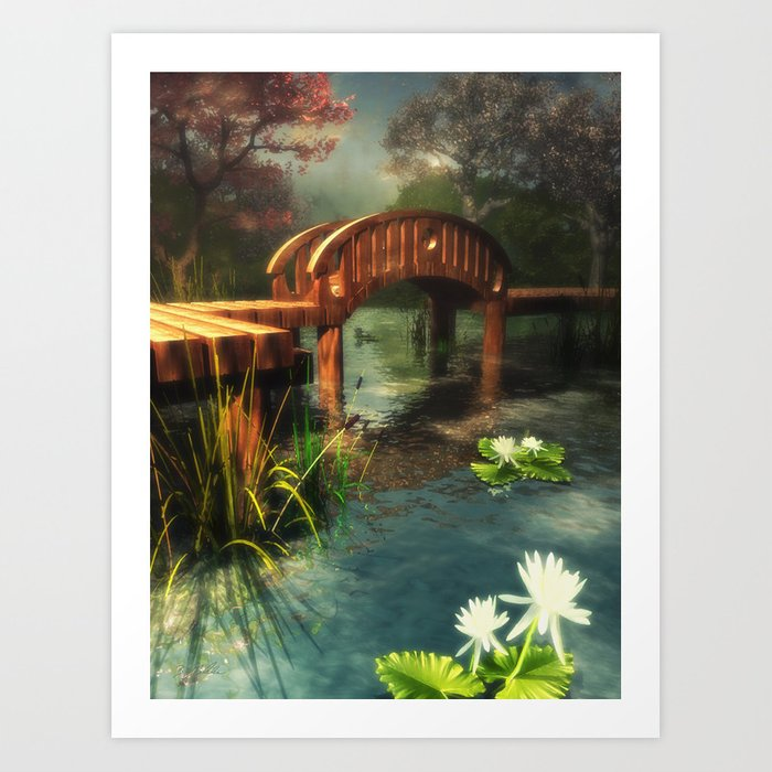 Wooden bridge over lotus pond Art Print