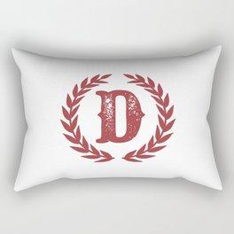 Rustic Red Monogram: Letter D Rectangular Pillow