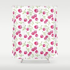 Watercolor cherry pattern Shower Curtain