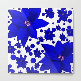 Poinsettia Blue Indigo Pattern Metal Print