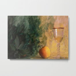 A glass of wine with an apple on a colourful painted background Metal Print