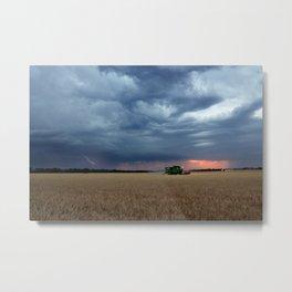 Harvest During A Storm Metal Print