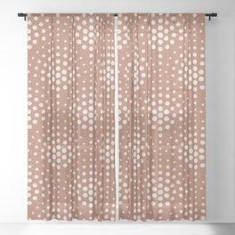 Creamy Off White SW7012 Polka Dot Scallop Fan Pattern on Cavern Clay SW 7701 Sheer Curtain