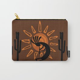 Rustic Brown Kokopelli Carry-All Pouch