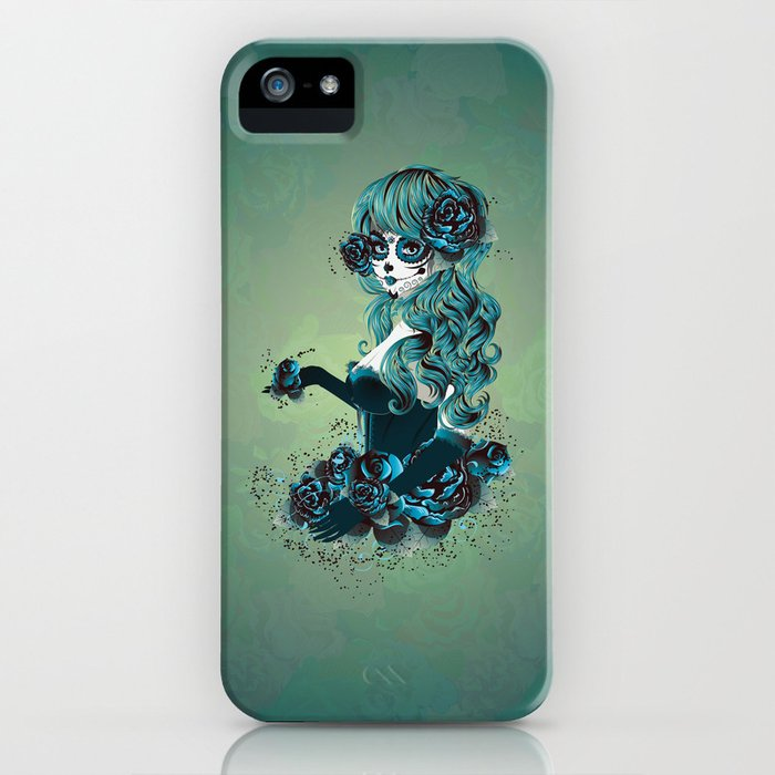 Sugar skull girl in blue iPhone Case