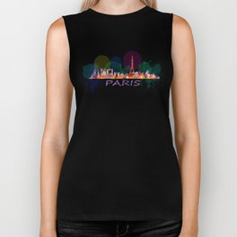 Paris City Skyline HQ, Watercolor Biker Tank
