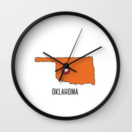Oklahoma State Heart Wall Clock