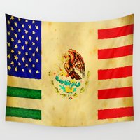 american flag Wall Tapestries featuring MEXICAN AMERICAN FLAG - 017 by Lazy Bones Studios