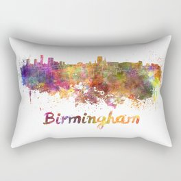 Birmingham skyline in watercolor Rectangular Pillow