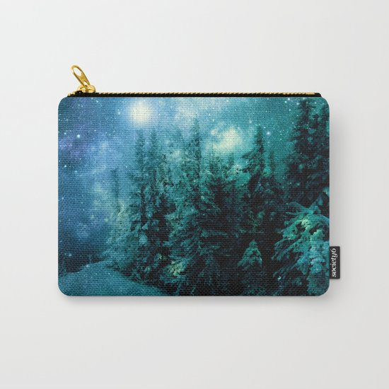 Galaxy Winter Forest Blue Teal Carry-All Pouch