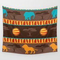african Wall Tapestries featuring African Pattern by Robin Curtiss
