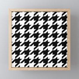 retro fashion classic modern pattern black and white houndstooth Framed Mini Art Print